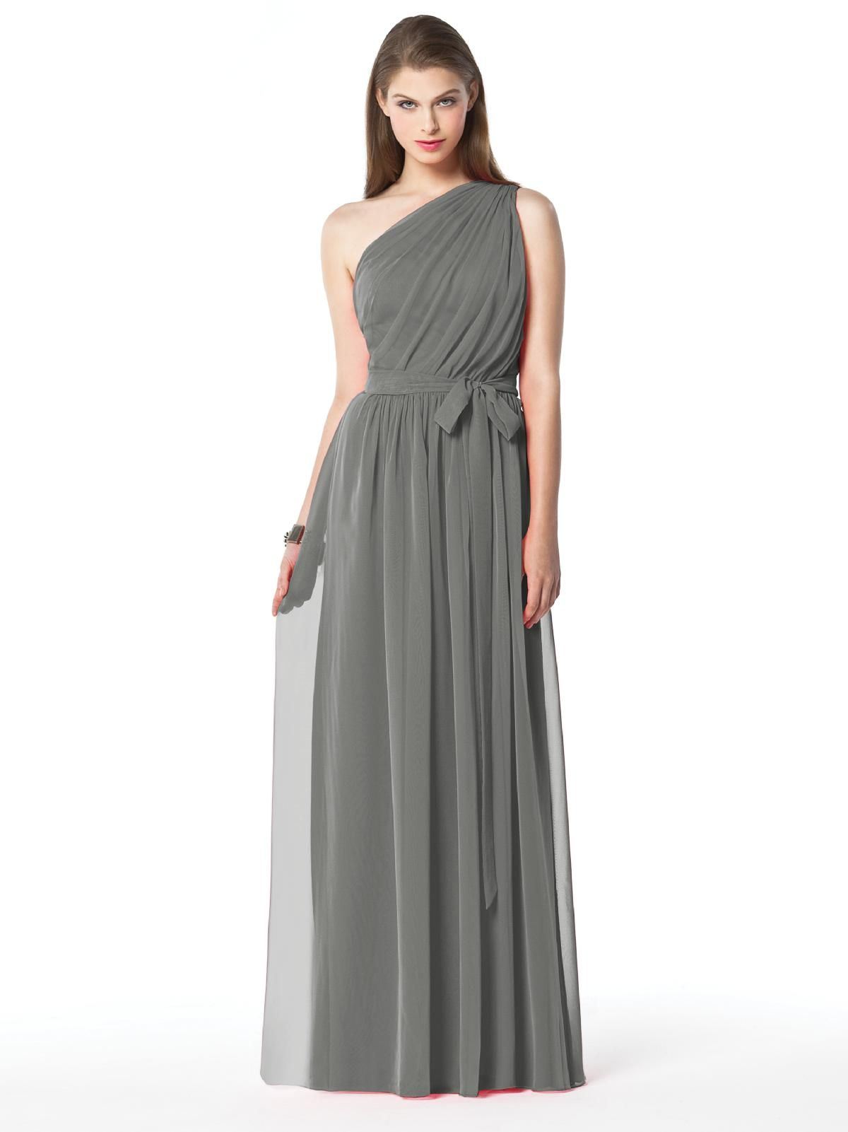 Dessy collection style 2831 in charcoal gray powell mckeen a line one shoulder floor length chiffon wedding party bridesmaid dresses ombrellifo Image collections