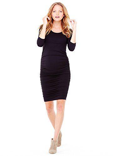 fcc9107ad70 Ingrid Isabel Womens Maternity 34 Sleeve Shirred Dress Jet Black Medium