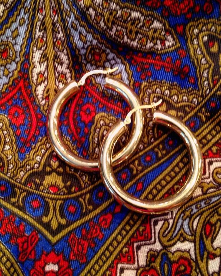 Gold hoops are always in style! Our 14k yellow gold hoops are a great size for every occasion.