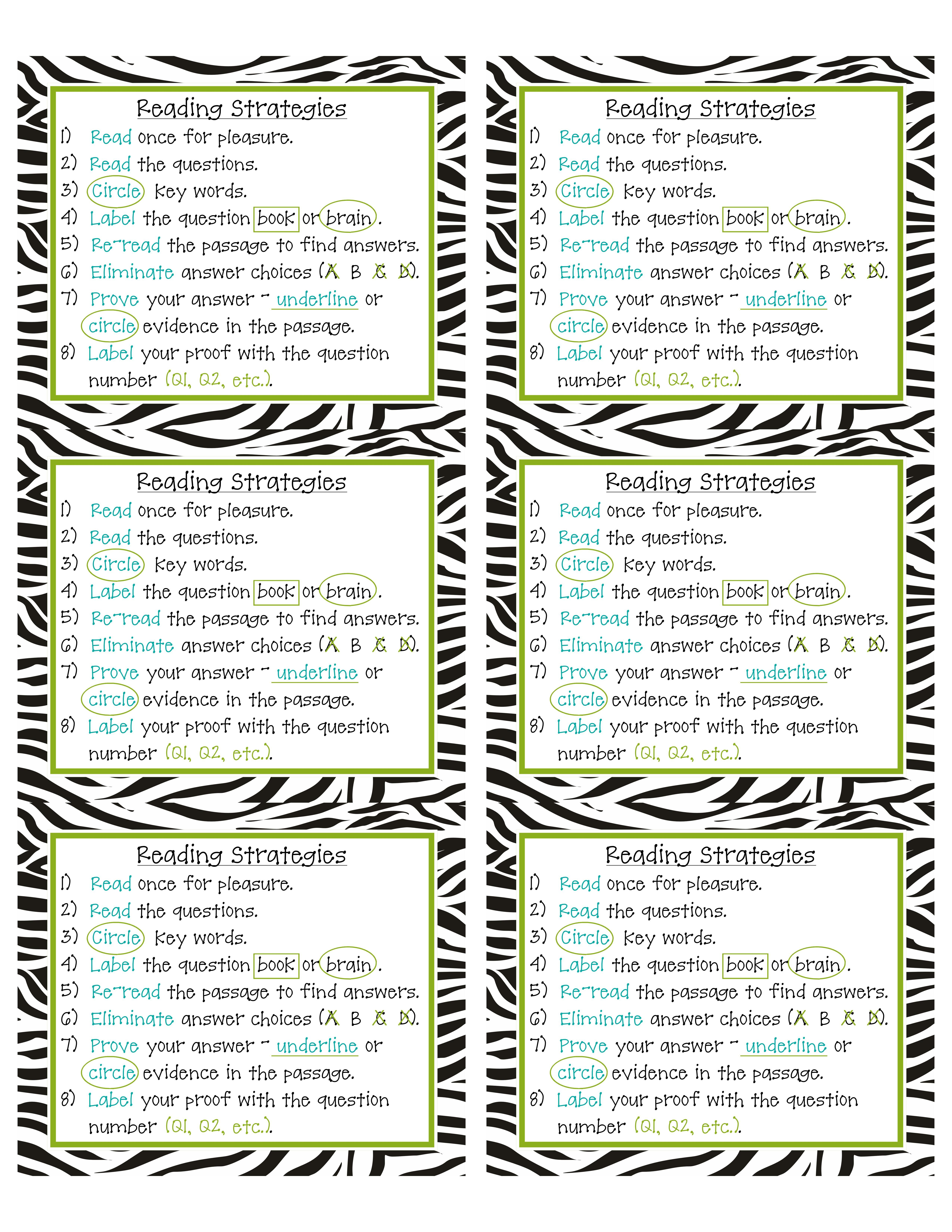 Downloadable Reading Strategies Checklist My Students