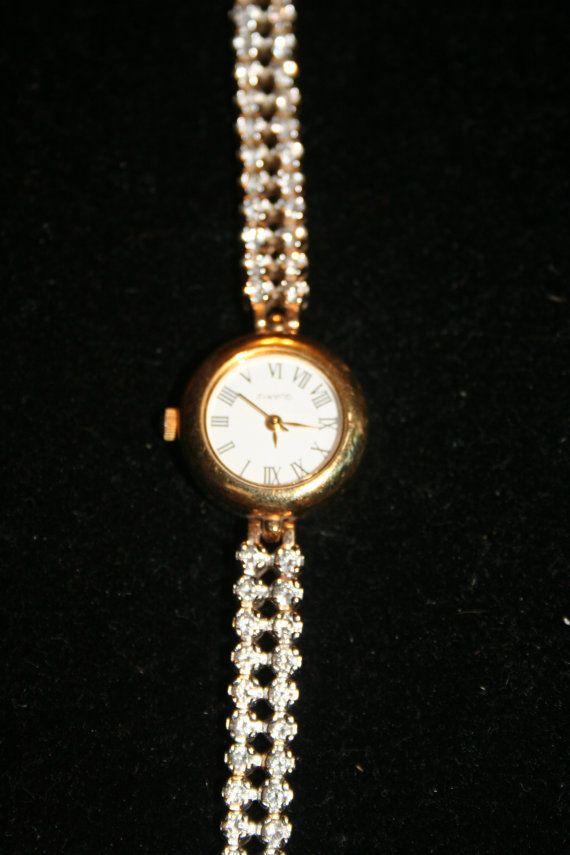 Bracelet Watch with rhinestones working vintage by GeniceRill, $10.00