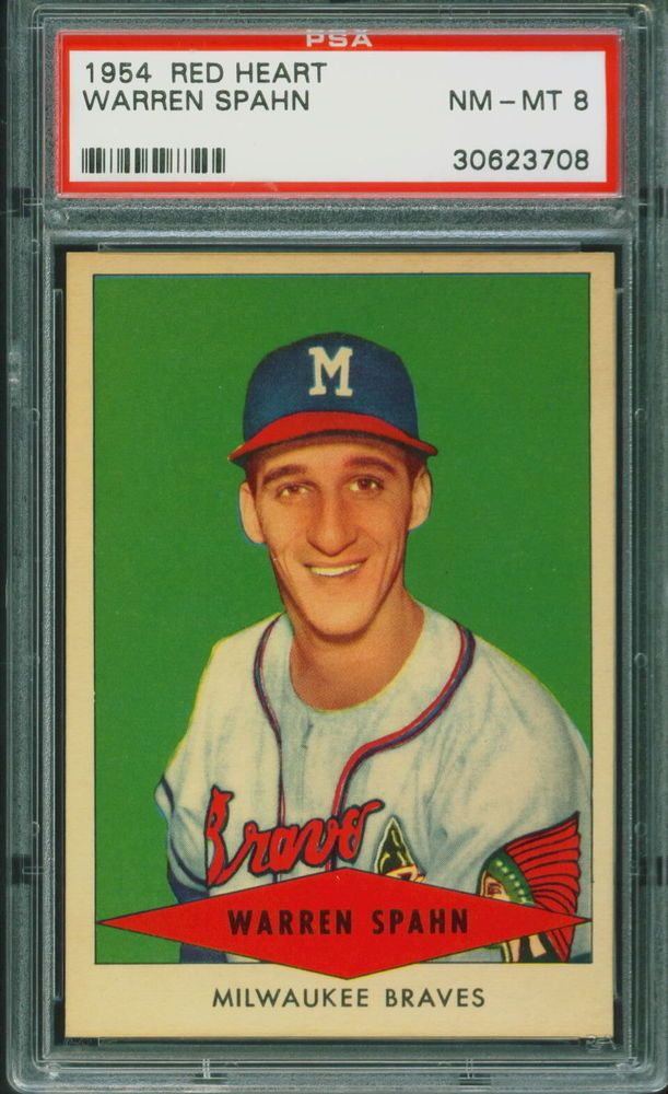 1954 Red Heart Baseball Warren Spahn Psa 8 Braves Hof Nm Mt