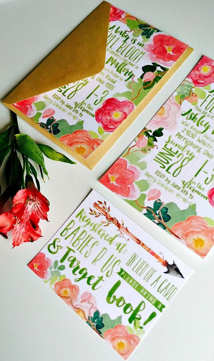 PRINTABLE Baby Shower Invitation: Watercolor Flowers {In Full Bloom} by HelloSunSHINExx on Etsy https://www.etsy.com/listing/231029723/printable-baby-shower-invitation