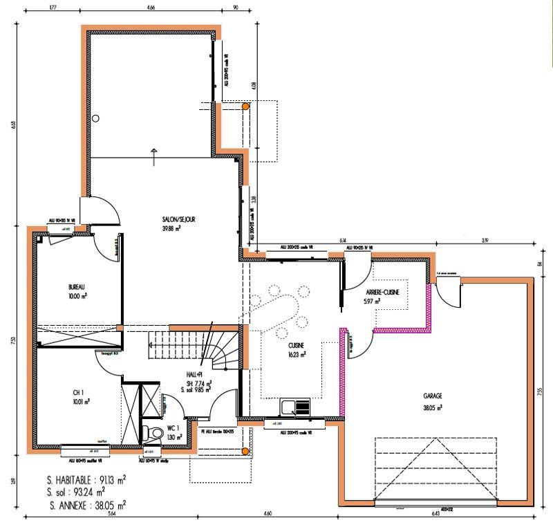 151 m² - 4 chambres - 1 étage - VUE RDC (avec images) | Plan de maison fonctionnelle, Plan ...