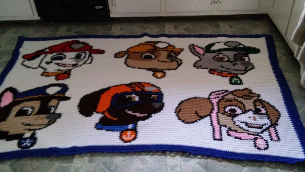 Handmade hand crocheted paw patrol afghan/throw | Pinterest | Colchas