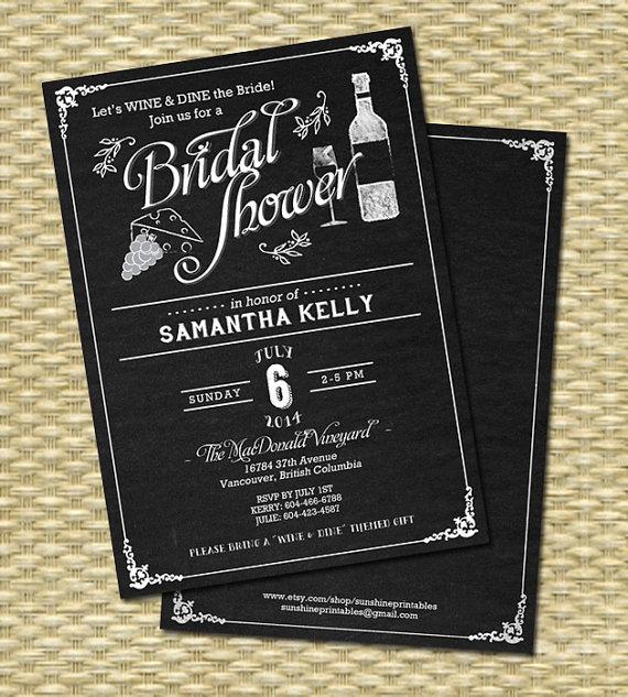 Wine Bridal Shower Invitation Chalkboard Bridal Shower Wine Themed