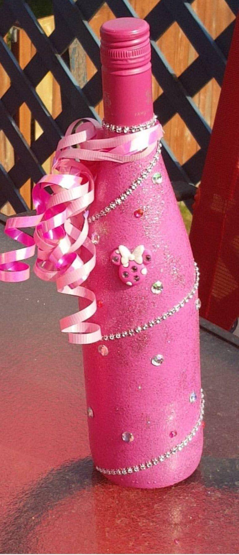 Pink Minnie Custom Bottle Decor Minnie Mouse Pink Keepsake By Dazzlebykay On Etsy Custom Decor Decor Bottles Decoration