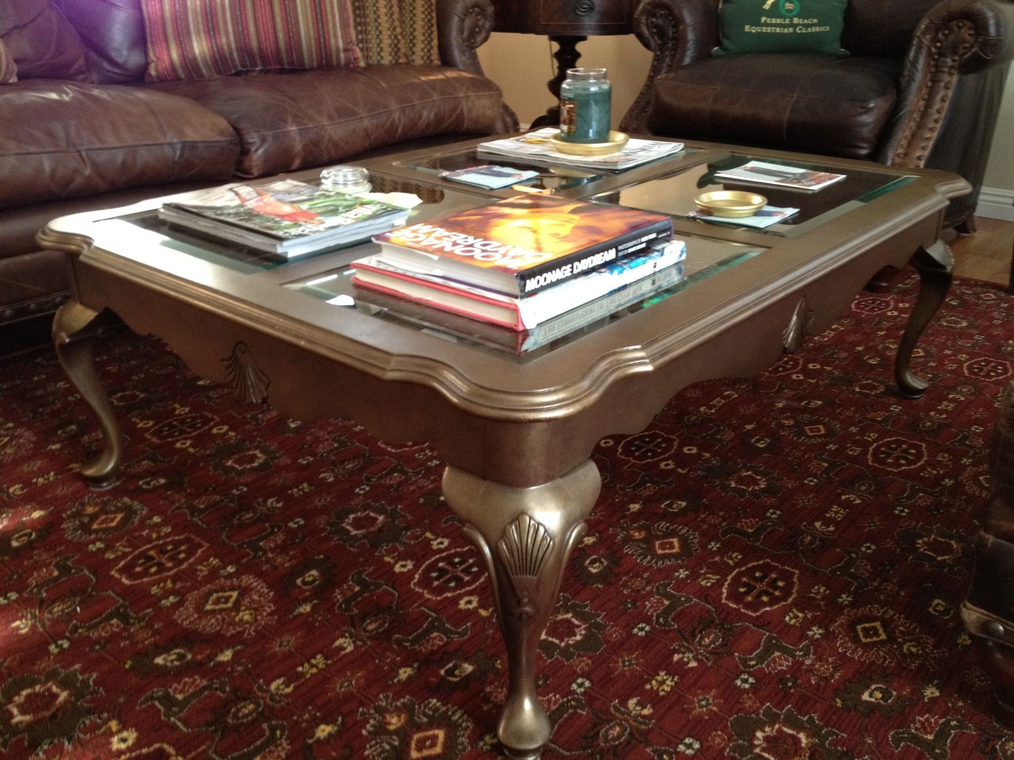"Old classic Thomasville Coffee table painted with ""gold metalic"