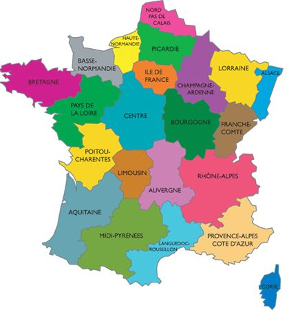Map Of Regions Of France.Regions De France France Map Learn French How To Speak