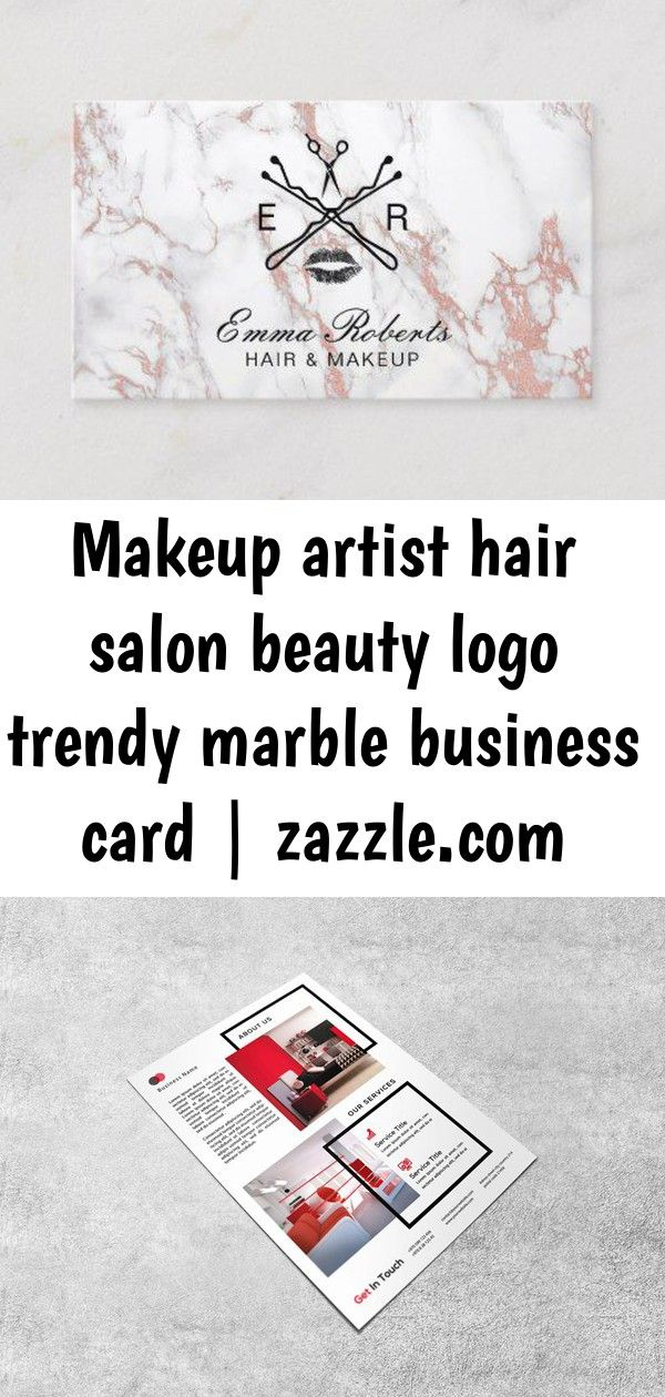 Makeup artist hair salon beauty logo trendy marble