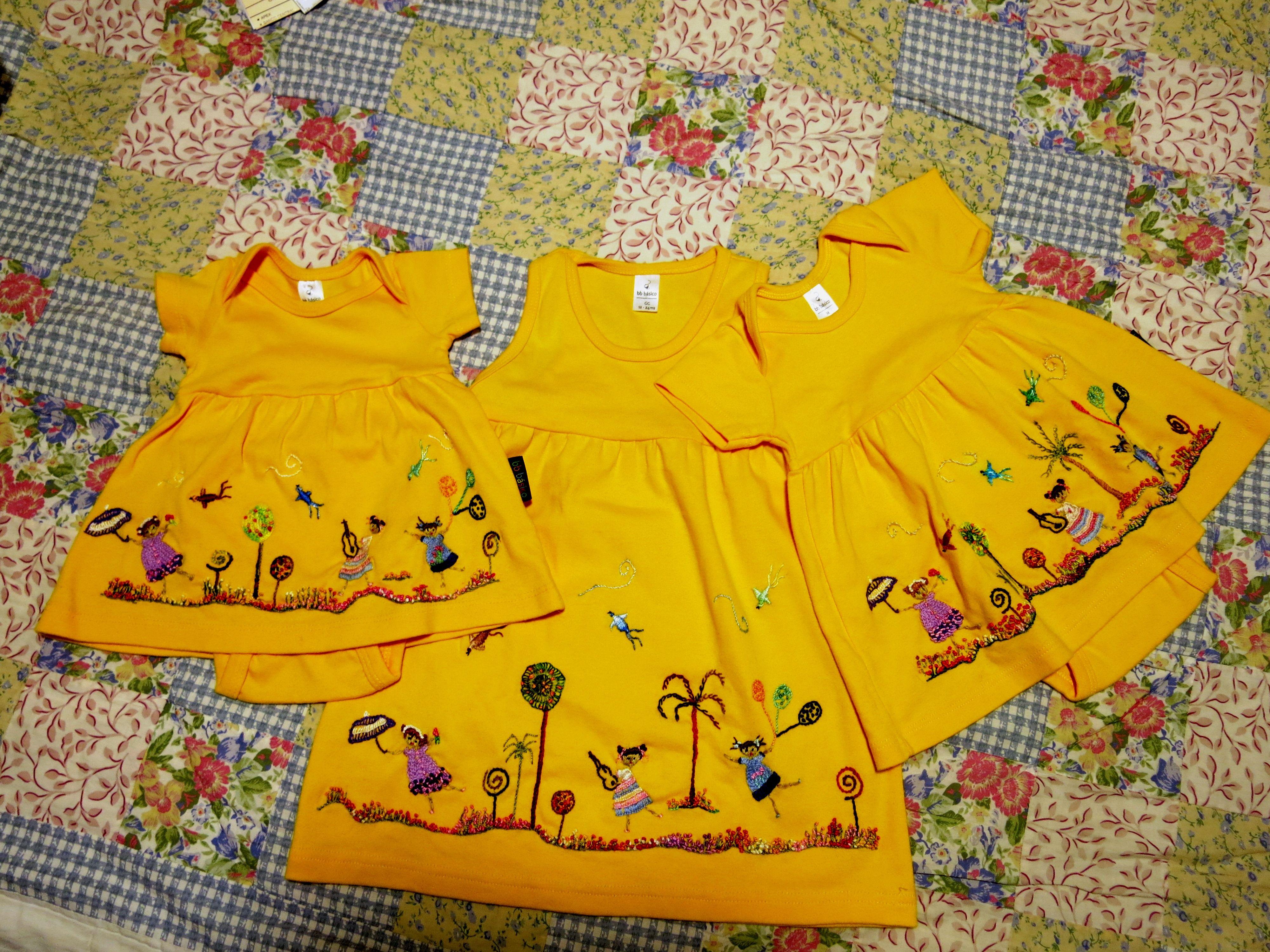 vestidinhos para Leninha e primas inspirados nos bordados do grupo Matizes Dumont