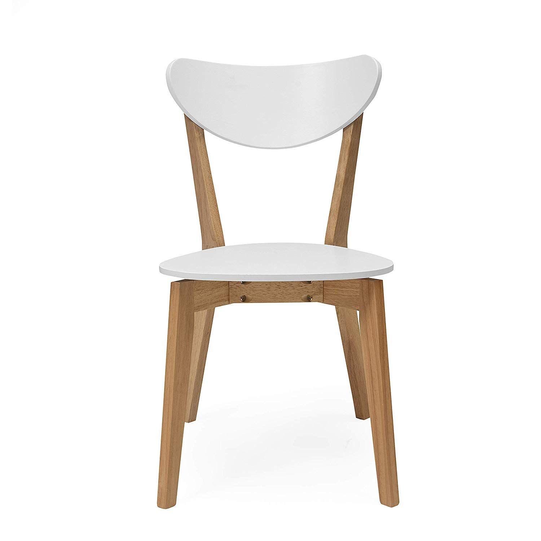 Sedie In Legno Laccate Bianco.Homely Set Di 4 Sedie Da Pranzo Melaka In Legno Di Quercia E