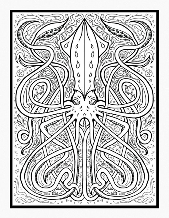 Giant Squid Coloring Page With Images Coloring Pages Tattoo