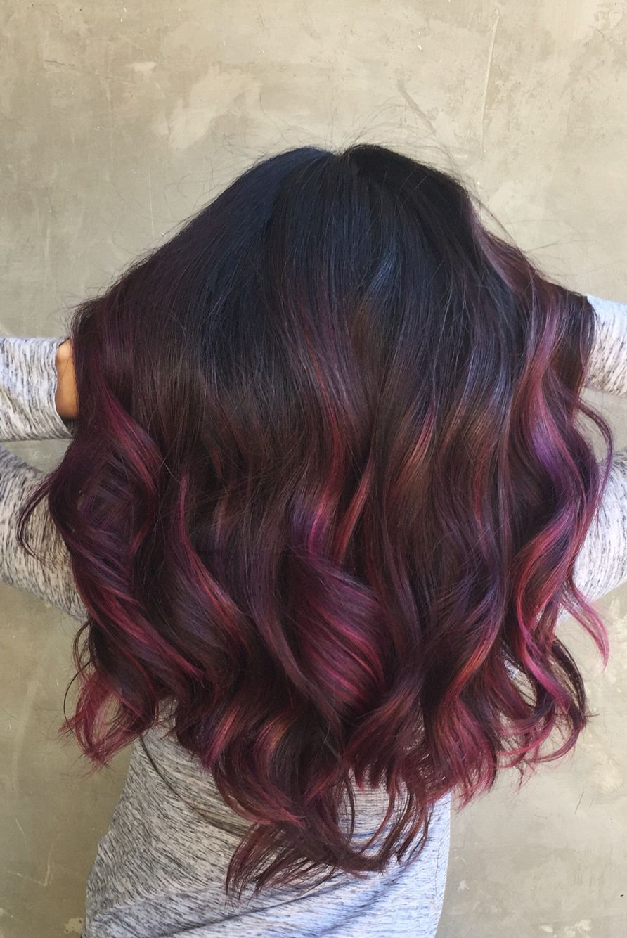 Somewhere Between The Red And Oil Slick Effects Love The Subtle Colour And Rich Orchid Hair Color Hair Styles Maroon Hair