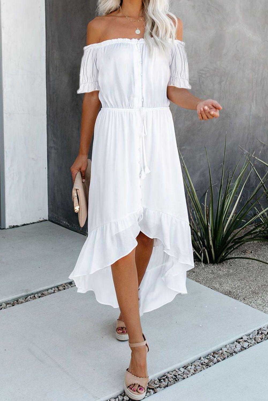 White Solid Glaze Button Slash Neck Off The Shoulder Short Sleeve High Low Maxi Dress Summer In 31 49 Short Sleeve Maxi Dresses Maxi Dress With Sleeves High Low Maxi Dress [ 1500 x 1001 Pixel ]