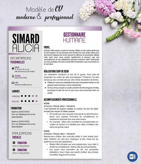 CV moderne et professionnel   CV Modern Template for Word  CV - modern word templates