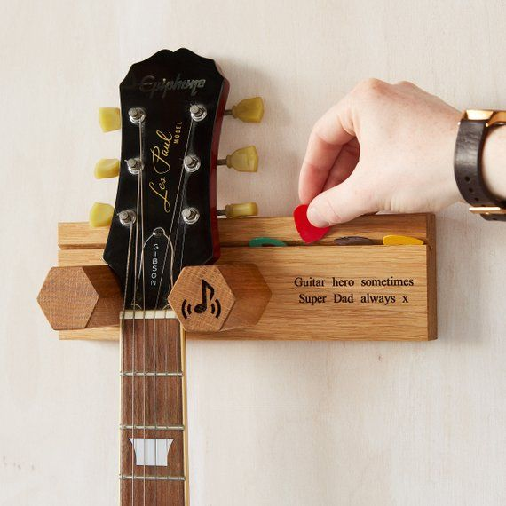 Personalised Wall Mounted Guitar Stand & Plectrum Pick Holder / Christmas Man Gift / Teen Gift / Gift For Him