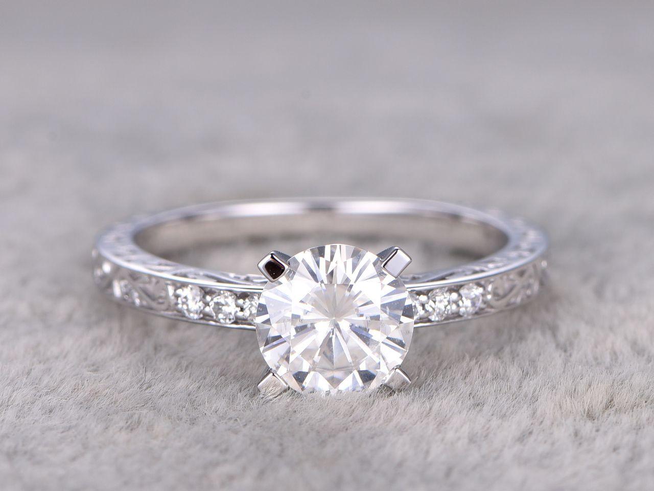 carat moissanite diamond engagement rings white gold filigree