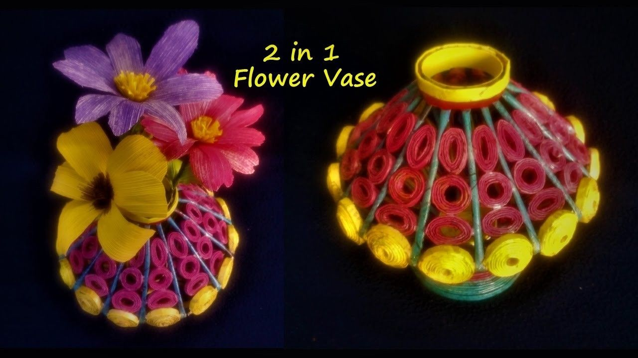 How To Make Flower Vase With Newspaper 2 In 1 Papercraft