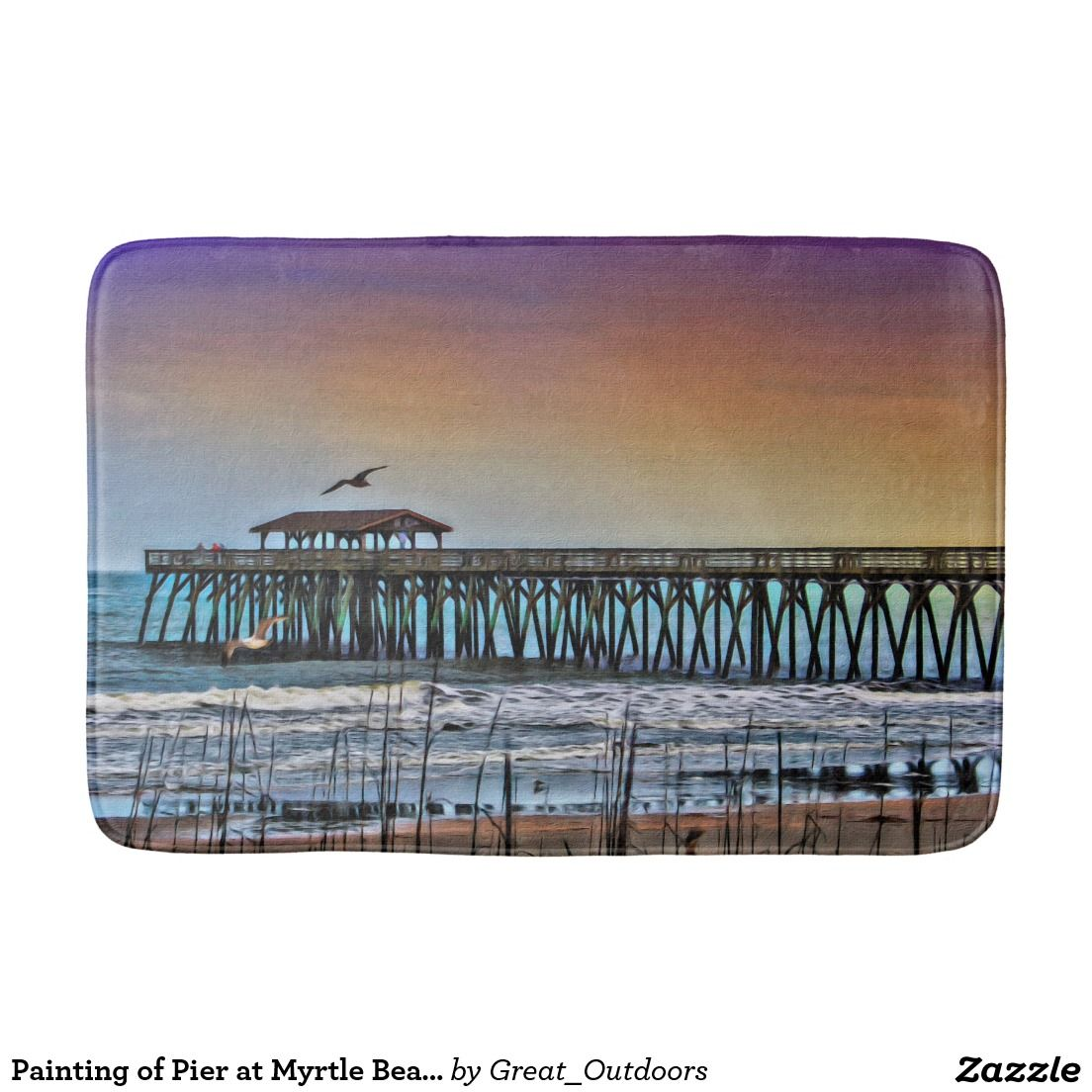 Painting of Pier at Myrtle Beach Bath Mat