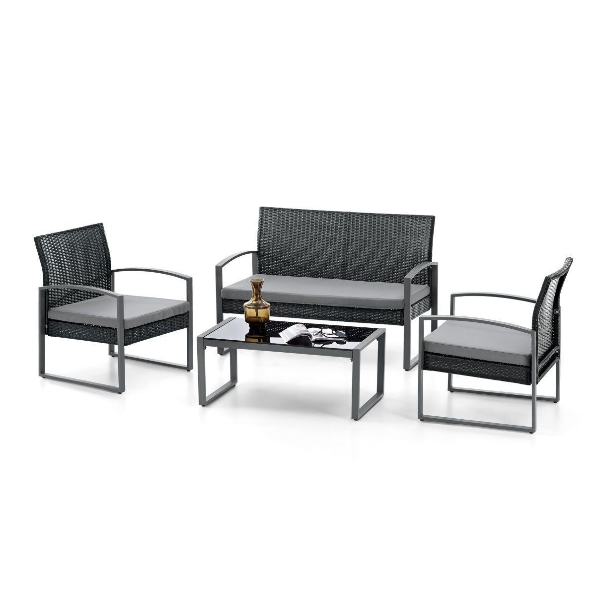 Lounge-Set Campinas Rattan/Stahl Schwarz/Grau #Garten #Terrasse ...