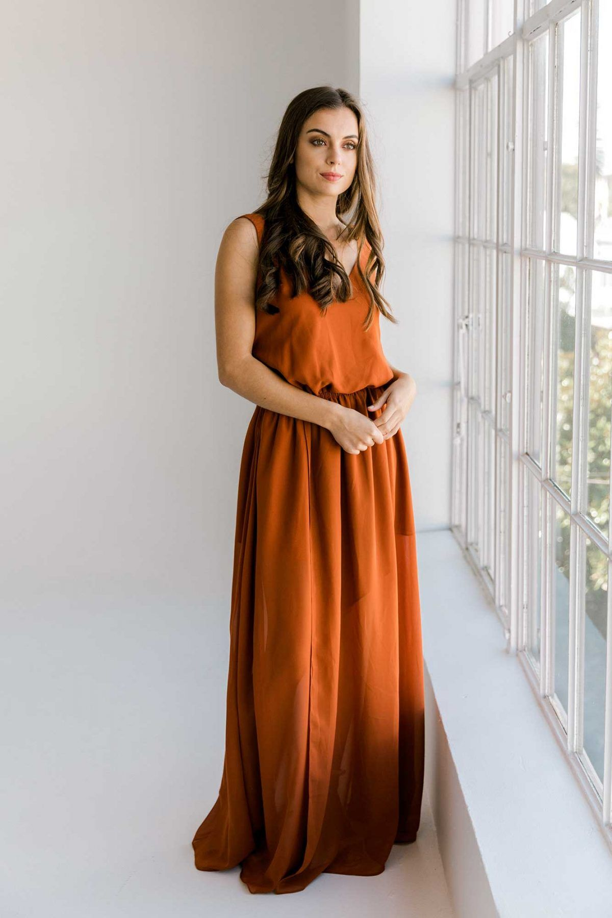 LolaDressBurntOrangeFront in 2020 Maxi dress, Burnt