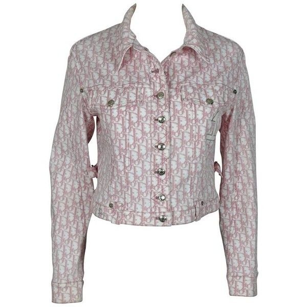 93d75b85 Preowned Christian Dior Vintage Pink Monogram Print Demim Jacket ($523) ❤  liked on Polyvore featuring outerwear, jackets, pink, jean jacket, christian  dior ...