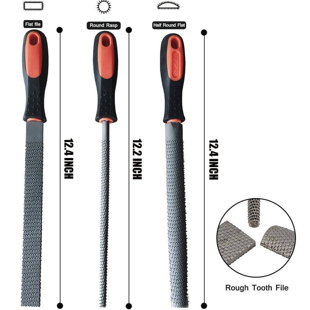 LKWORLD 8 Wood Rasp File Set with Rubber Grip Includes Hand
