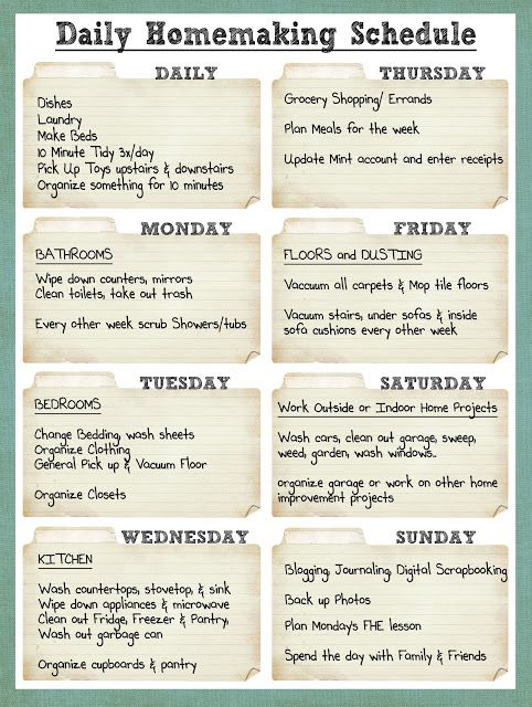 Smile Like You Mean it Cleaning Schedule - if I ever am a stay-at - housework schedule