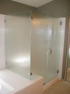 Obscure Glass Shower Enclosure Custom Sandblasting Glacier Glass