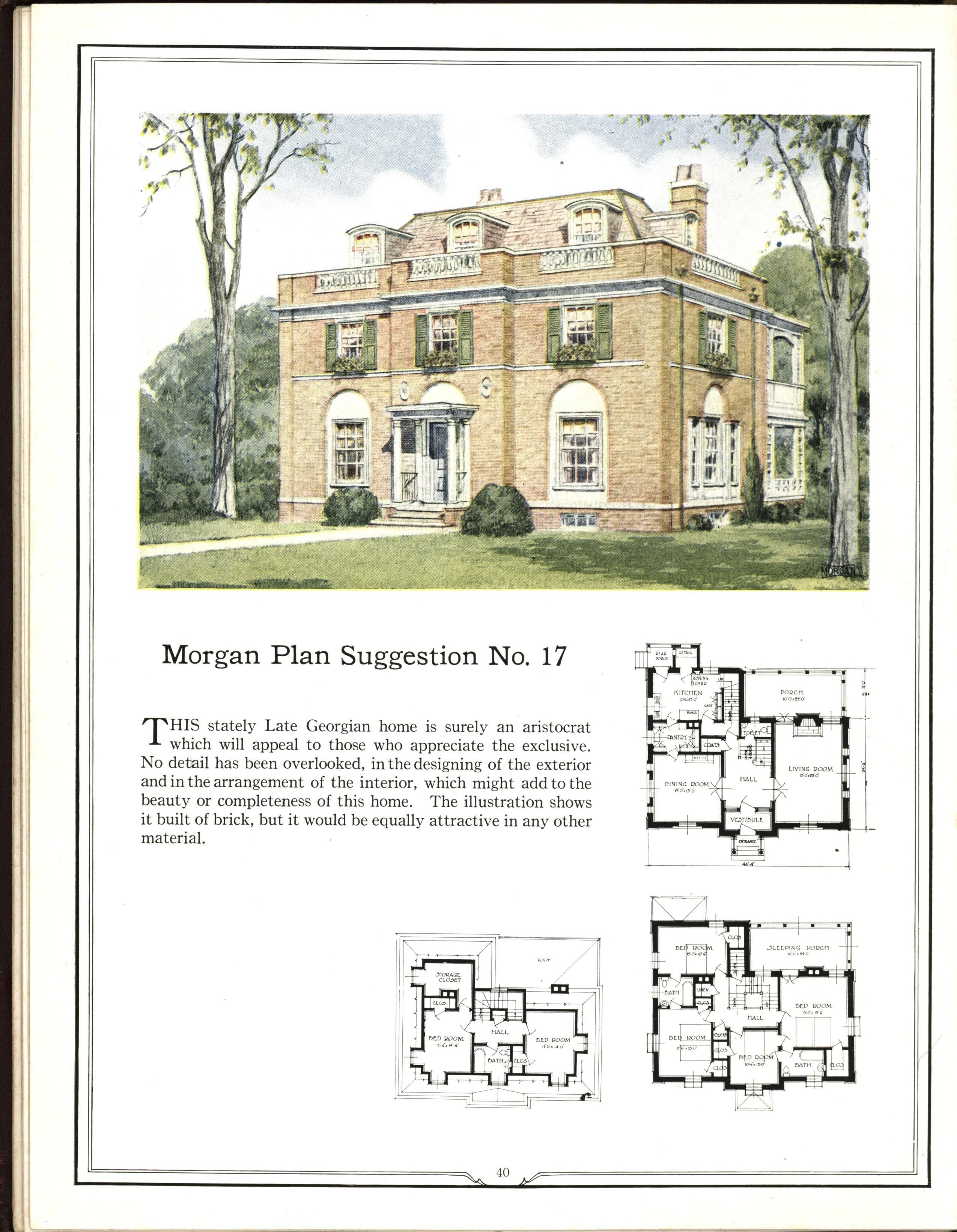 Impressive 3 Story Georgian Style House Plan Easily Adaptable To Modern Living Georgian House Plan House Plans Vintage House Plans How To Plan