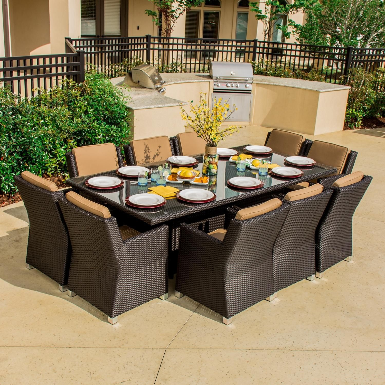 Avery Island 10 Person Resin Wicker Patio Dining Set Ultimate