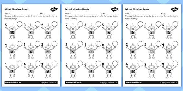 Mixed Number Bonds to 10 on Robots Worksheet | MATH | Pinterest