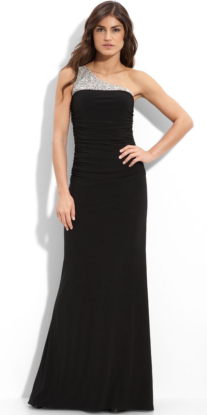 Long Black One Shoulder Satin Evening Dresses