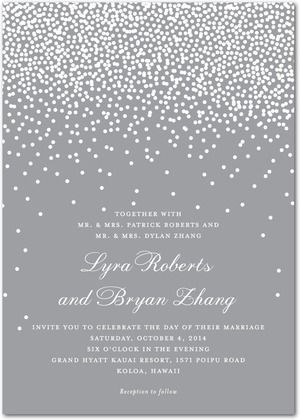 Signature White Wedding Invitations Diamond Sky - Front : smoke