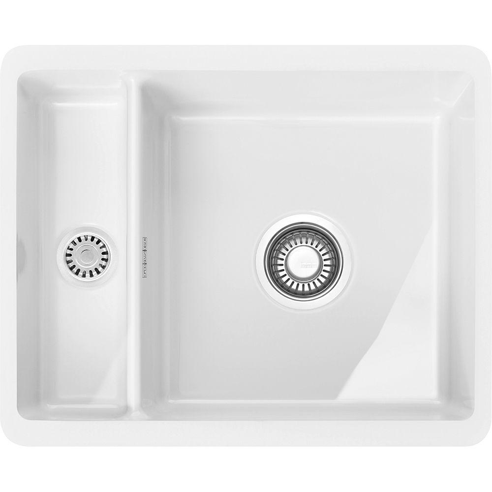 Franke Kbk160 Wh Kubus 1 5 Bowl Ceramic Undermount Sink White Appliance City Modernkitchensin Ceramic Undermount Sink Undermount Sink Kitchen Sink Install
