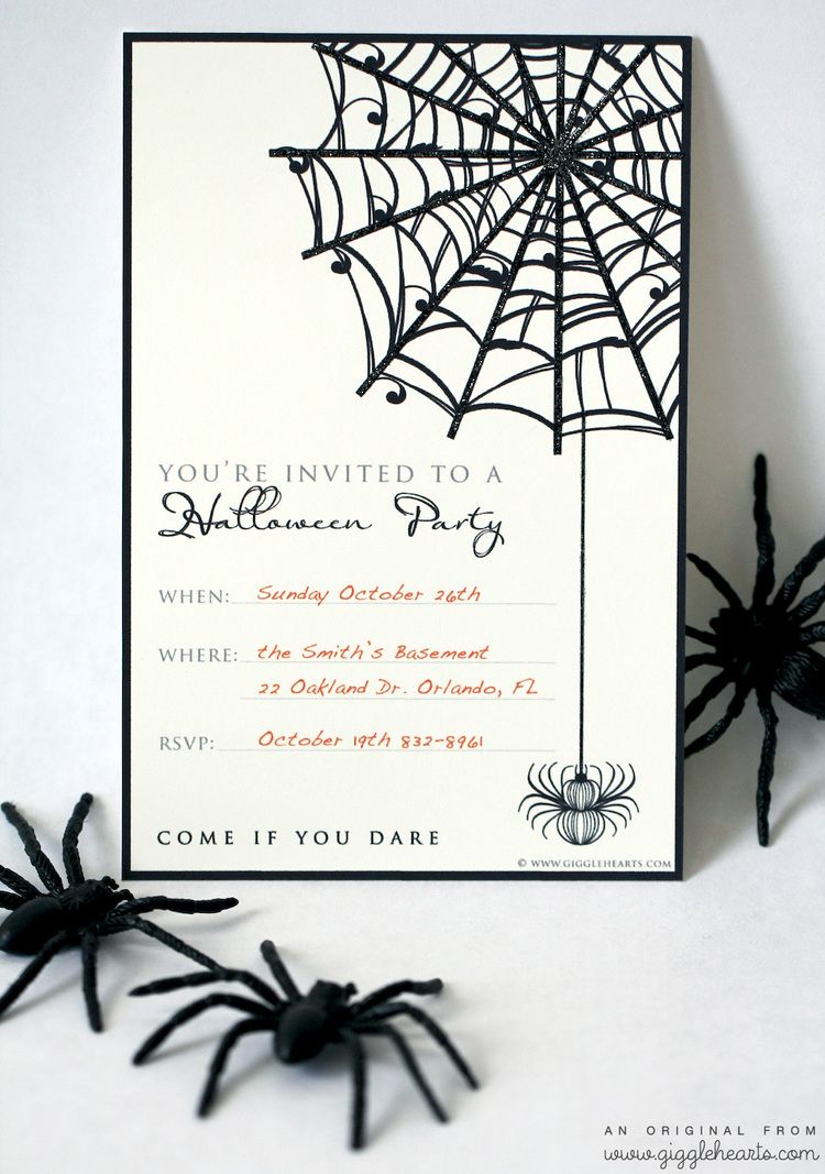 Free Halloween Party Invitation Printable with Glitter for a Fun ...