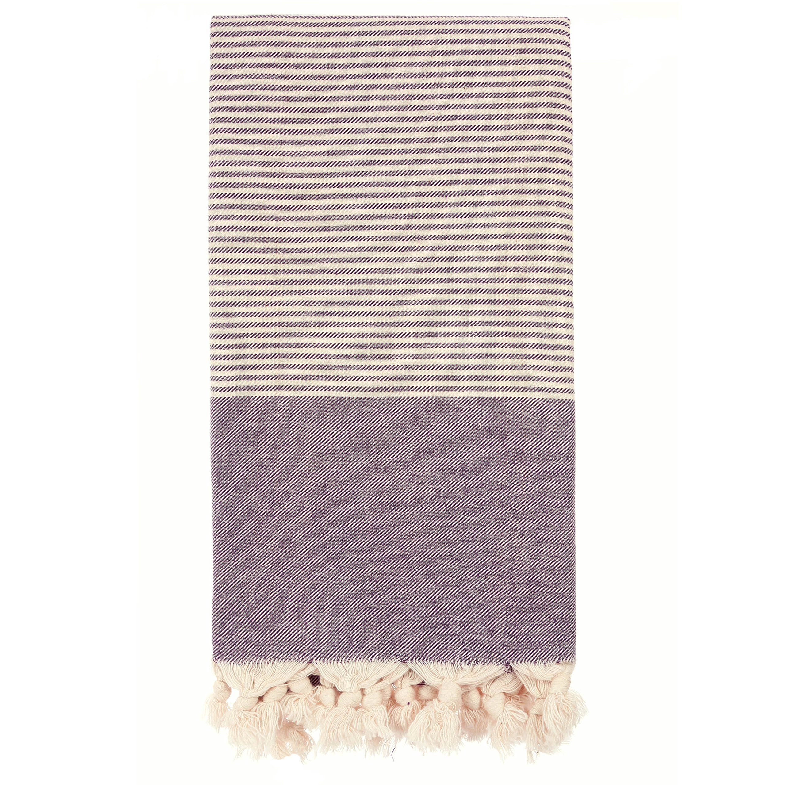 hand loomed pestemal striped turkish bath towel 34x66 100 cottontm by cacala darkpurple