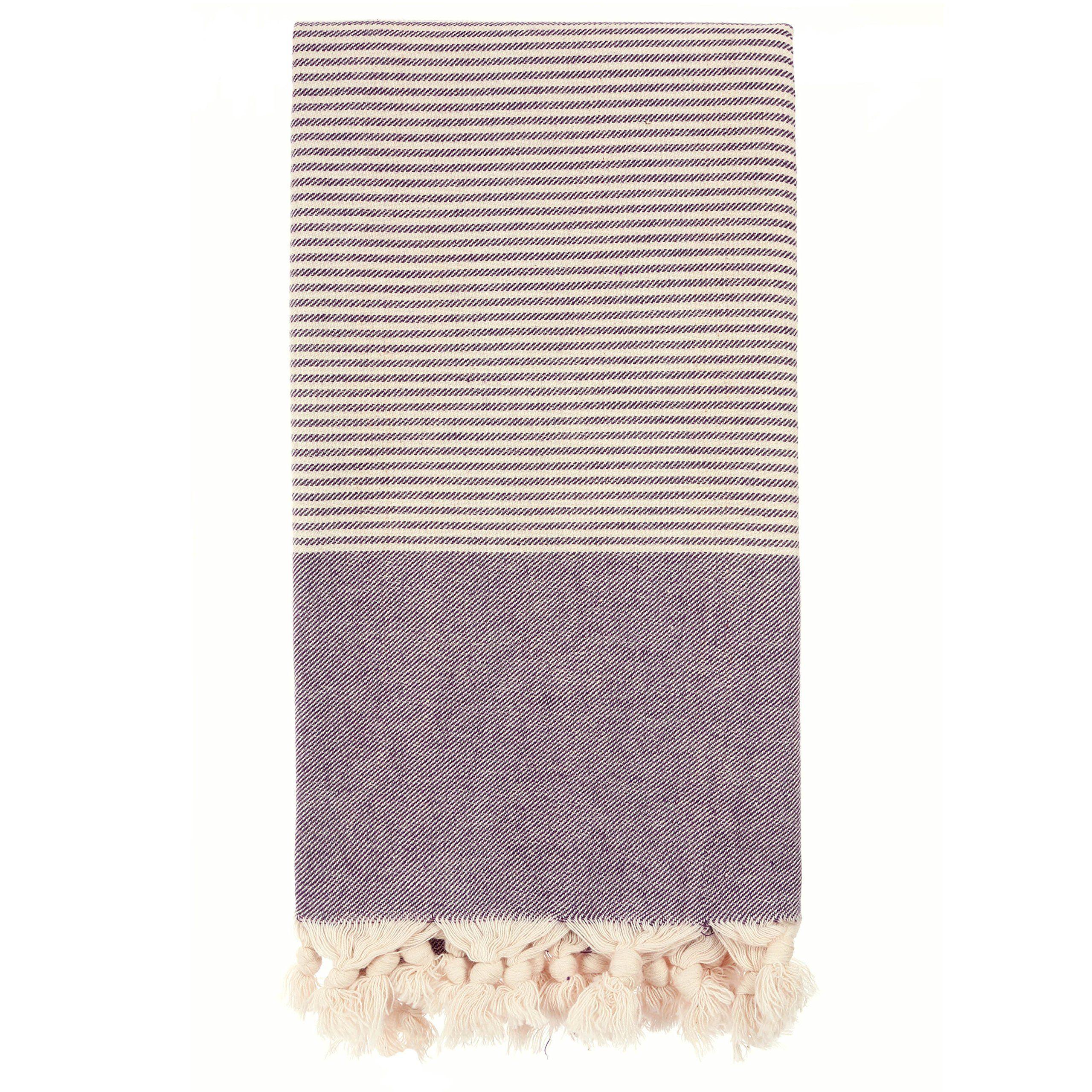 hand loomed pestemal striped turkish bath towel 34x66 100 cottontm by cacala darkpurple