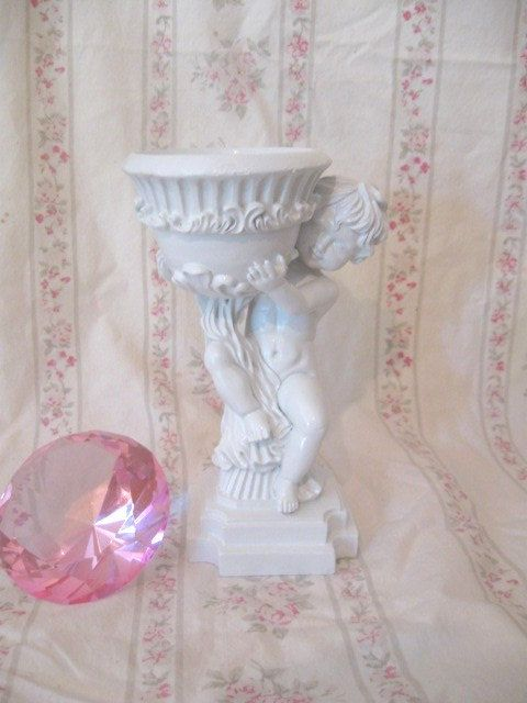 Chic White Sweet Cherub Angel Holding Bowl Soap Dish/CandleHolder/Trinket Jewelry Holder Etc Ornate Shabby Paris Cottage Victorian by VintageChicPleasures on Etsy