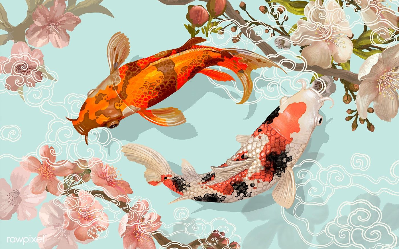 Download Premium Vector Of Two Japanese Koi Fish Swimming 449879 Koi Fish Drawing Koi Painting Fish Drawings