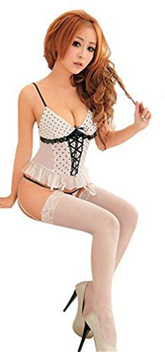 Dreamspell Sexy Women Exotic Lingerie Sets Lovely White Corset Set