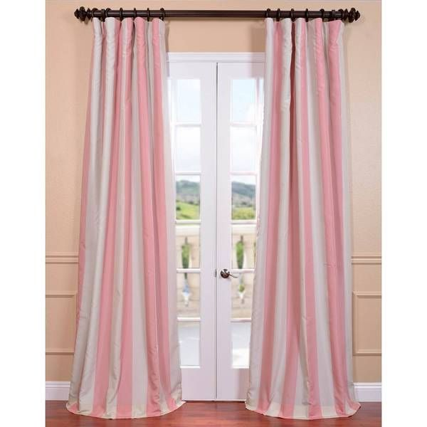 Ultra Lux Blackout Pink Blossom Taffeta Stripe Curtain   Overstock™  Shopping   Great Deals On EFF Curtains