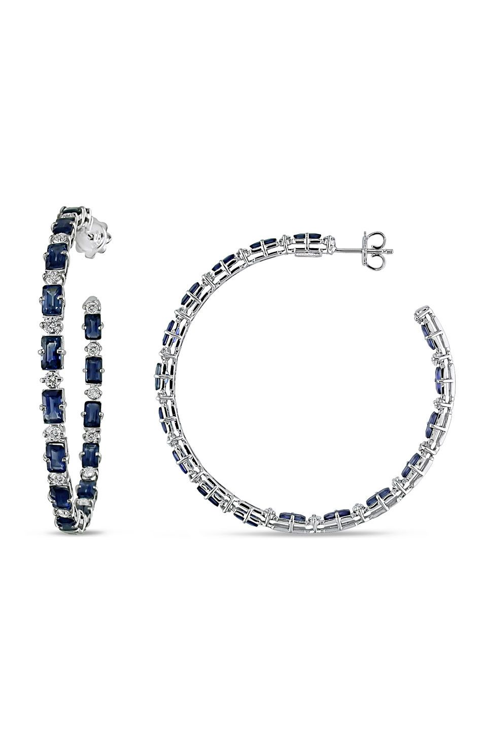 aa0c437ae5c11a From the Vault 0.875 ct Diamond & Sapphire Hoop Earrings in 18k White Gold  - Beyond the Rack