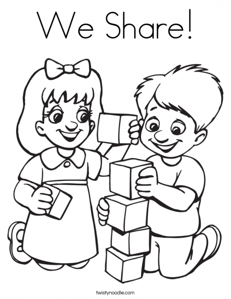 Kids Sharing Toys Colouring Pages Friendship Theme, Preschool Coloring  Pages, Preschool Friendship