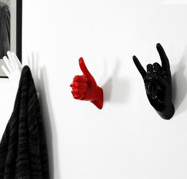 You may be gesturing your mood often with these signs but the Hand Hook Set is about making good use of them for hanging your clothes too.