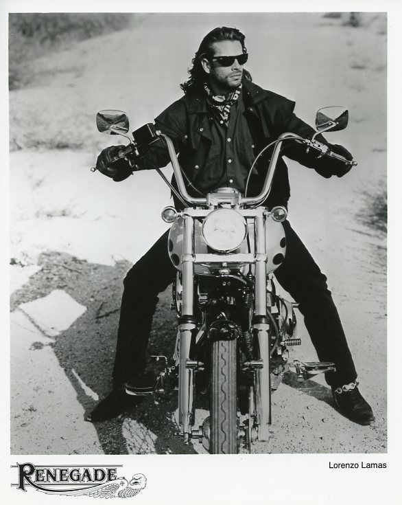 Lorenzo Lamas On Motorcycle Chopper Renegade Original 1991 Fox Tv Photo Ebay Lorenzo Lamas Fox Tv Motorcycle