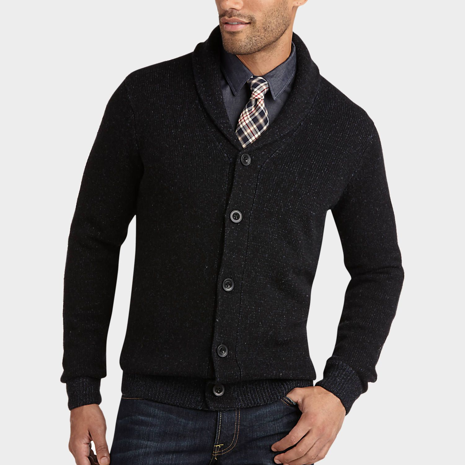 Pronto Blue Shawl-Collar Modern Fit Cardigan Sweater, Black ...