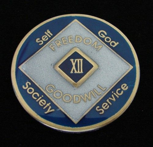 NA Black Gold Coin 6 Year Tri-Plate Narcotics Anonymous Medallion Out of Ashes