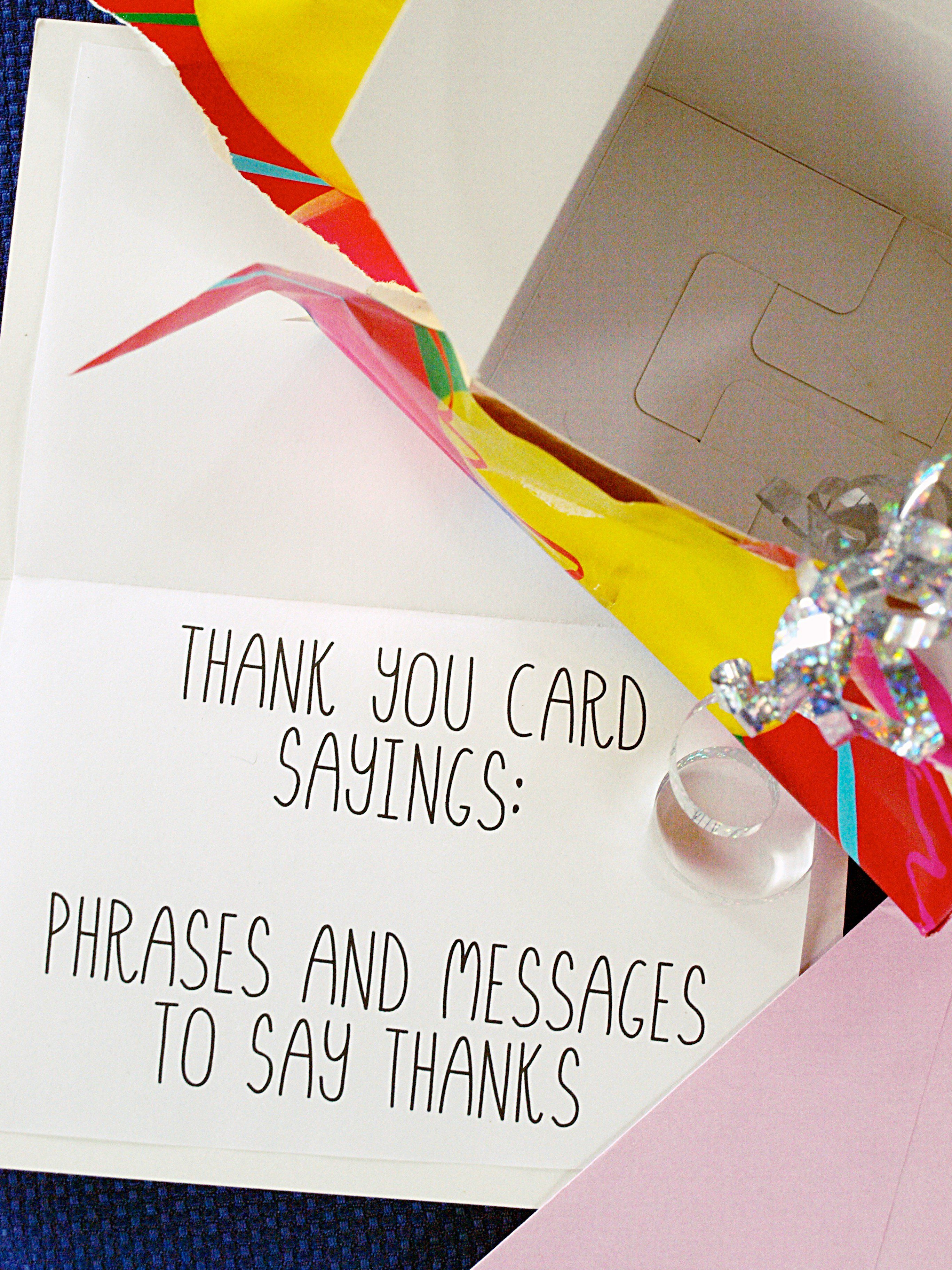 Thank You Card Sayings Phrases And Messages Card Messages What